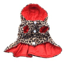 Hot Sales Factory Price! Pets Dogs Leopard Pattern Tutu Coat Dress Puppy Hoodie Both Sides Wear Clothes