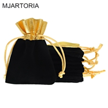 MJARTORIA 50PCs 7x9cm Black Velvet Little Bags Drawstring Gift Bags For Jewelry Package Velvet Jewelry Bag Pouches High Quality(China)