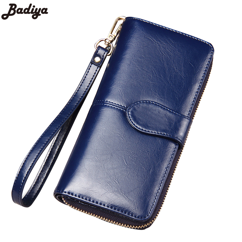 Famous Brand Women Solid Wallet Clutch Long Purse Oil Wax Genuine Leather Wallets Solid Multi-Card Position Purses<br><br>Aliexpress