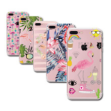Case for iPhone 5 5s SE 6 6s 7 Plus 6Plus 4 4s 5C Flamingo Cute Animals Birds Transparent Soft TPU Silicone Phone Back Cover