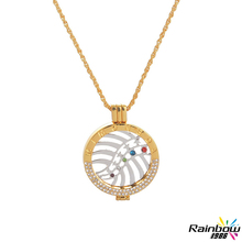 Collier Femme My Coin Lucky Coin Imitation Gold Half Circle Drill Border White Gold With CZ Diamonds Pendant Necklace for Women