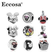 Fit Original Pandora Charms Bracelet Silver Plated Cute Minnie Mickey Charm Bead DIY Accessories Beads For Jewelry Making