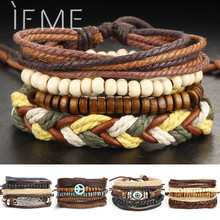 1Set Multilayer Leather Bracelet Men Jewelry Punk Rock Wood Bead Bracelets For Men Love Vintage Bracelets & Bangles Gift Retro(China)