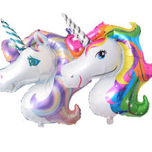 Hot 2017 Festival Rainbow Unicorn Head Supershape Foil Balloon Childrens Birthday Party Decoration(China)