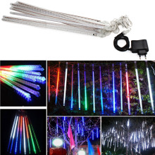 Waterproof 100-240V 240 LEDs Waterproof 50cm/1.6ft Tube Outdoor Snowfall Meteor Shower Rain Christmas Lights String