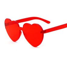 New Red Heart sunglasses for women 2018 trendy novelty rimless sun glasses candy color love style fashion pink yellow eyewear(China)