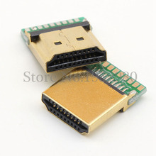 50PCS HDMI Male USB Connector A Type 19 Pins SMT Iron Gold Shell with PCB Board 1.4 Version