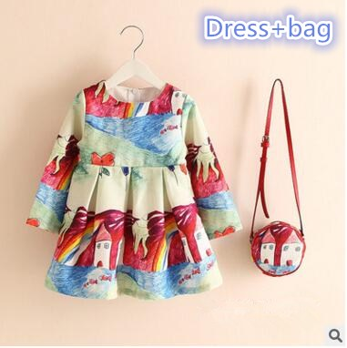 2017 spring and autumn period and the printing Girls dress princess dress   + render bag two-piece outfit<br><br>Aliexpress
