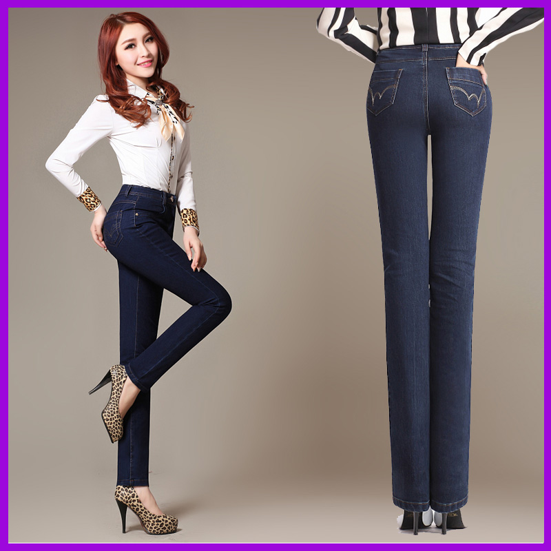 Plus fertilizer XL elastic waist middle-aged fat mm significantly thin waist Slim straight denim trousers femaleОдежда и ак�е��уары<br><br><br>Aliexpress