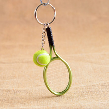 6 Color ! Creative Personality Tennis And Mini Tennis Racket Key Ring Keys Chain Key Holder Gift For Men / Women(China)