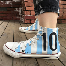 Wen Design Argentina National Team Football Soccer Number 10 White Skateboarding Shoes Hand Painted Shoes Unisex Canvas Sneakers