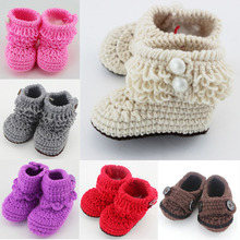 Retail 6 Colors for choice Newborn Toddler First Walker Shoes Crochet Knitted Booties Baby Winter Warm Crib Shoes(China)
