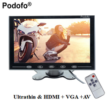 "Podofo 9"" LCD Monitor TFT Mini Color Monitor 2 Video Input Car Monitor Display Screen For PC CCTV HDMI AV-In Security Monitor"