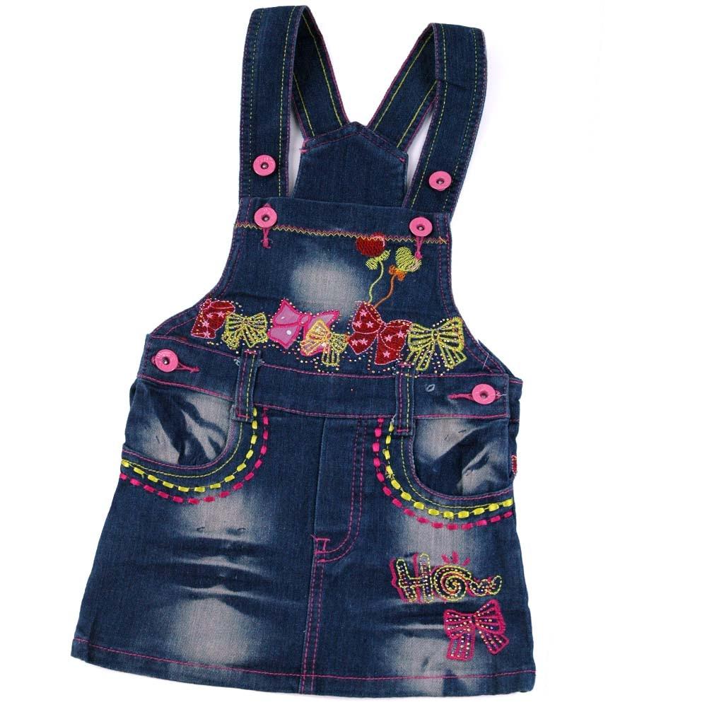 4-6Y Girls Denim Strap Dress Bows letters multi-color Embroidery Pink Button cute jean Braces Slip Dress LL2429<br><br>Aliexpress