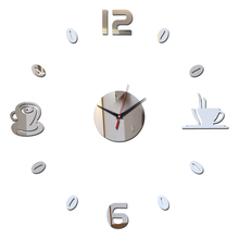 2017 new diy wall clock watchesModern living europe large decorative 3D mirror acrylic horloge Home Decoration(China)