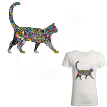New Stripes Multicolor cat stickers 25*25cm iron on patches DIY patch on clothes jacket thermal transfer(China)