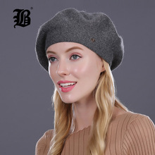 [FLB] Lady Berets Hat For Winter Knitted Cotton Hats With Lining 2017 New Top Quality Beret Cap Hat For Women Beret(China)