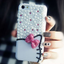 "New White or Black Pretty 3D Hello Kitty Phone Cases for iPhone 6 4.7"" / 6 Plus 5.5"" / 5S 5 Luxury Rhinestone Diamod back case"