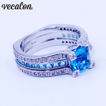 Vecalon Women Anniversary ring Sku blue 5A zircon Cz White gold filled wedding Band ring Set for women men Birthstone Jewelry