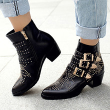 Metal Buckles Women Boots Soft Leather Ankle Boots Thick Heels Shoes Woman Zipper Fashion Winter Boots Brand Sexy Ladies Shoes