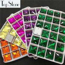 More Colors Square Shape Sew On Rhinestones 22mm 16mm Glass Crystal Sewing Stones Flatback 2 holes Jewelry dress making