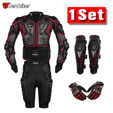 HEROBIKER Red Motocross Racing Motorcycle Body Armor Protection Jacket+Gears Shorts Pants+Protective Motorcycle Knee Pads+Gloves