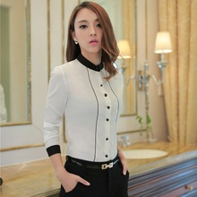 Plus Size 4XL Elegant White Long Sleeve Business Women Work Wear Blouses & Shirts Ladies Blusas Blouse Female Tops Uniform Style(China)