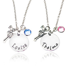 Fashion Trendy Couple Necklace Jewelry Lettering Louise Thelma Pistol Gun Inlaid Rhinestone Pendant Necklaces Sweater Chain