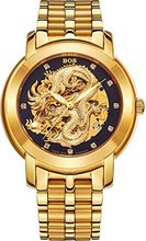 Nice Timepiece BOS Men's 'Dragon Collection' Luxury Carved Dial Automatic Mechanical Bracelet Waterproof Gold Watch 9007