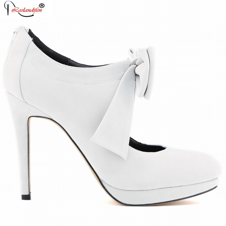 Womens Brand Shoes Woman White High Heels Big Bow Pumps Red Wedding Shoes Stiletto Thin Heel Plus Size 35-42 SMYNLK-B0140<br><br>Aliexpress