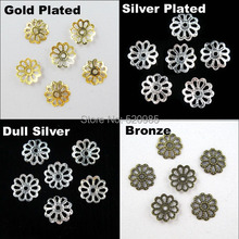 (500Pcs=1Lot ! ) Free Shipping Jewelry Finding 9MM Flower End Beads Caps Gold Silver Bronze Nickel Plated No.BC03(China)