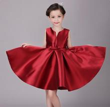 DHL free! Factory direct children wedding dress 2016 new red big bow girls christmas dress designer brand ball gowns 2-7Y
