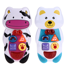 Creative Phone Toy Baby Kids Music Learning Study Cartoon Animal Cell Phone Toy with Sound and Light Infant Russian Teaching Toy