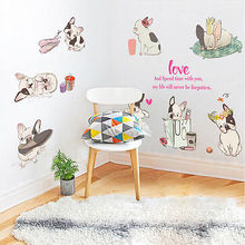 8x dogs Lovely Wall Stickers Kids Bedroom Decoration Decal Art Mural Vinyl Living Room Wall Declas(China)