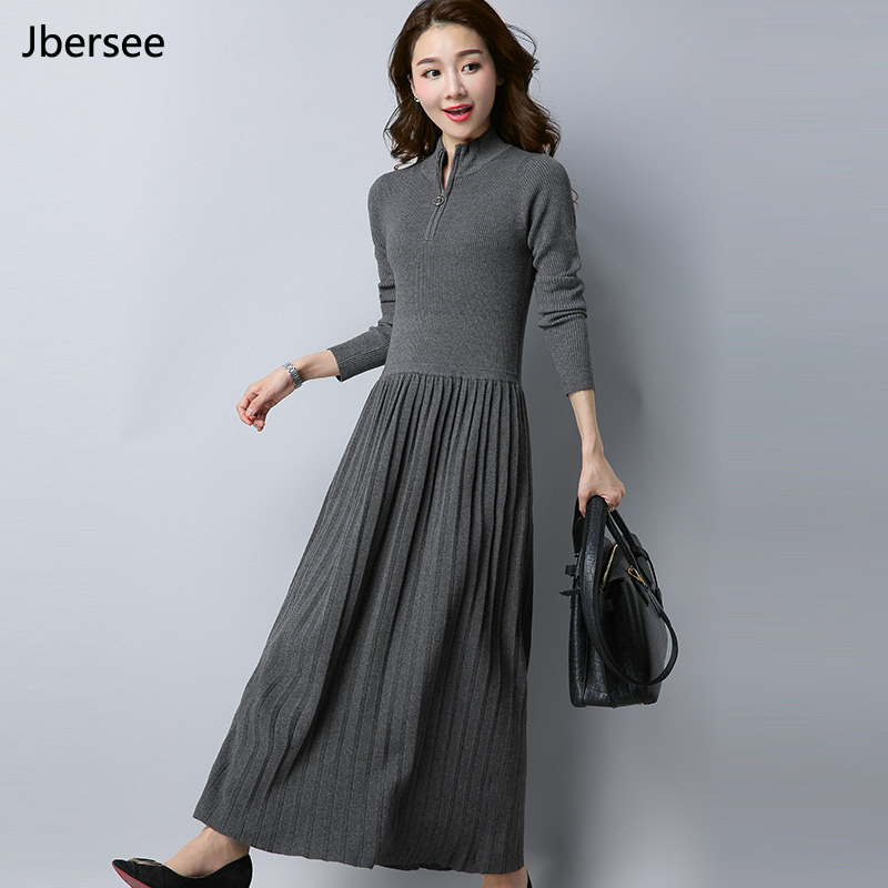 Jbersee Autumn Winter Dress Vestidos Women Knitted Wool Sweater Long Dress Casual Zipper Long Sleeve Warm Dress YZ5021Îäåæäà è àêñåññóàðû<br><br>