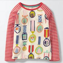 6pcs/lot New Baby girls T shirts kids children long sleeve badge animals singlet boys tops tee shirts 2-7T sylvia 556763694719(China)