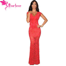 Dear Lover Vintage Orchid Lace Nude Illusion V-neck Low Back Sexy Party Gowns Dress LC6676 vestidos de renda longo festa noite