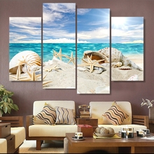 HD Pictures Canvas Printed Modern Wall Art Framework 4 Pieces Sandy Beach Starfish Shells Seascape Home Decor Posters Painting(China)