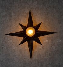 American Industrial Retro Loft Style Wrought Iron Eight Pointed Star Wall Light Coffee Shop Bar Vintage Light Free Shipping
