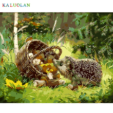 Frameless The Hedgehog Animal DIY Painting By Numbers Kits Coloring Oil Painting On Canvas Drawing Home Artwork Wall Art Picture(China)
