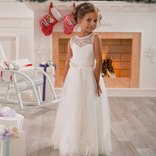 Hot A-line Jewel Lace Sash Net Floor Length Baby Girl Birthday Party Christmas Princess Dresses Children s Flower Girl Dresses(China)