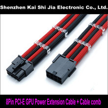 "High quality 12"" Black & Red 8 Pin GPU PCI Express PCI-E Single Sleeved Power Extension cable + 2PCS Clear Cable Comb(China)"