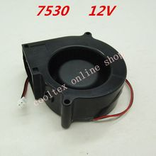 10pcs/lot  7530  blower Cooling  fan 12 Volt  Brushless DC Fans centrifugal  Turbo Fan  cooler  radiator