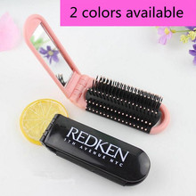 1 Pc New Design Portable Folding Comb Hair Brush with Mirror Compact Pocket Size Travel Hairdressing Anti-static Combs(China)