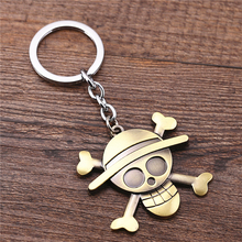 J Store Anime Souvenir One Piece Keychain Luffy Straw Hat Skull Logo Pendant Key Ring Holder for Fans Gift Handbag Charm
