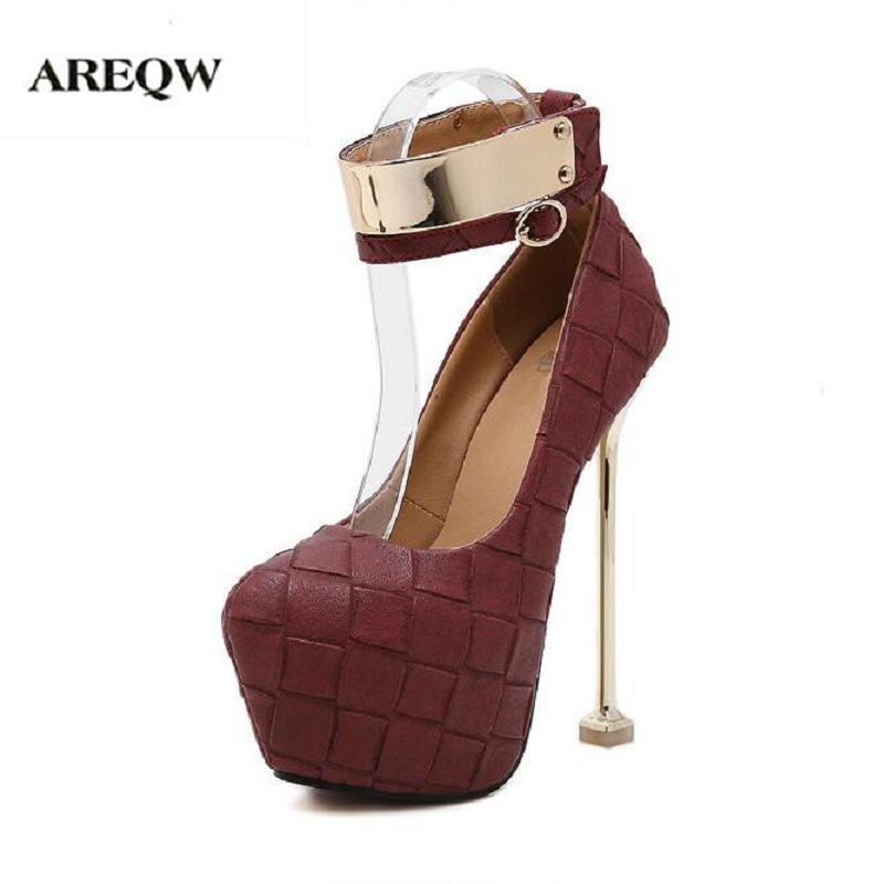 AREQW Spring new metal thin heel super high heels glasses heels large size nightclubs shoes women paste buckle high-heeled boots<br>