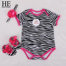 baby girls clothes summer infant newborn baby clothing girls Leopard print short sleeves romper + headband +shoes 3pc suit bebes(China)