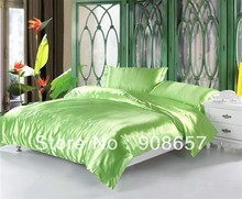 luxurious Smooth Shiny imitated silk satin fabric bed linen girls bedding light green comforter queen/full duvet cover sheet set