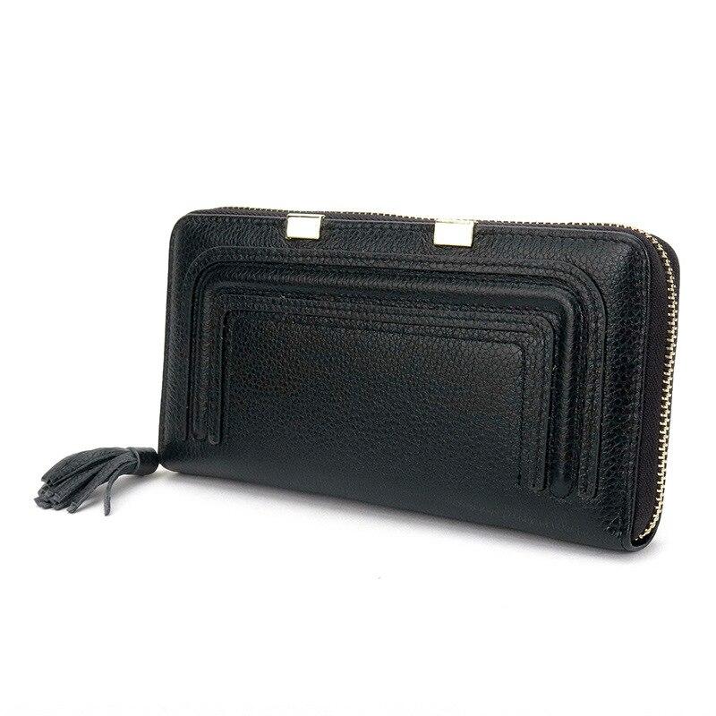 Women Zipper Leather Genuine Long Clutch Female Wallet Fashion Tassel Decoration Large Capacity Women Wallet 2016 Purses<br><br>Aliexpress