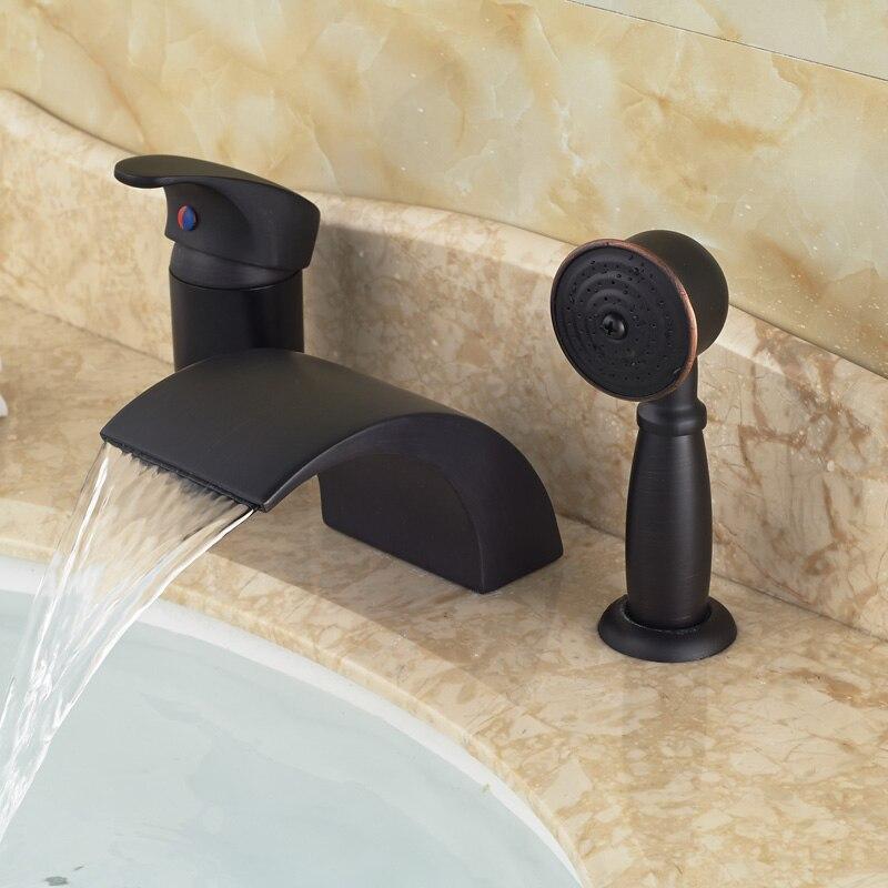 Modern Deck Mount waterfall Spout Bathroom Bathtub Faucet Single Handle Widespread Mixer Taps Oil Rubbed Bronze<br><br>Aliexpress